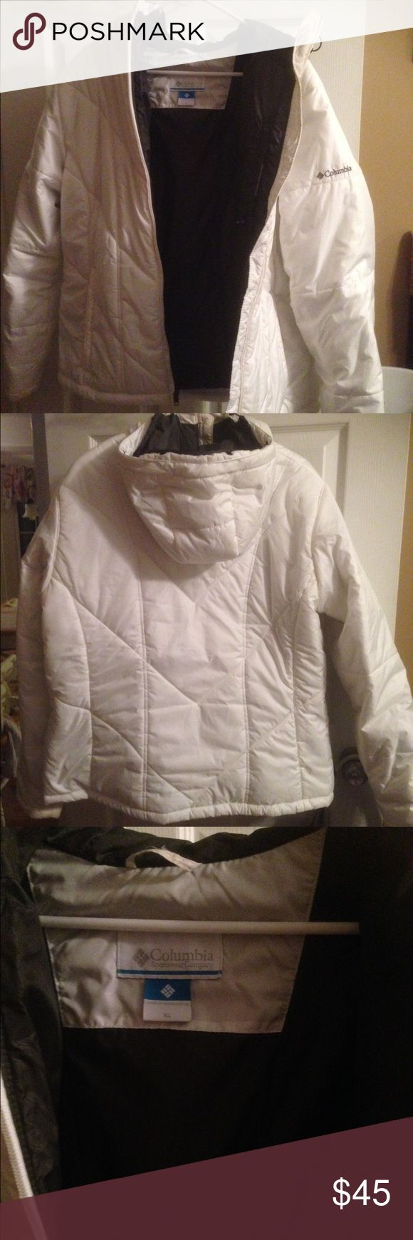 Columbia Coat White XL Columbia coat. Puffer coat but very lightweight. No tears. Small discoloration from makeup at top of zipper. Very comfortable coat!! Columbia Jackets & Coats Puffers