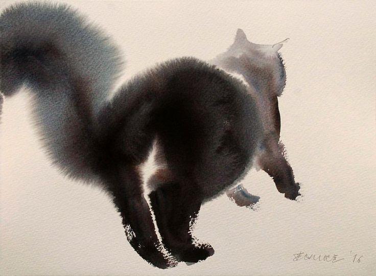 The model is my cat, Witch... #watercolor #aquarelle #aquarela #endrepenovac #cat #blackcat #animal #pets #fluffy #arts_help #instagram #saatchi #art #endre #penovac #painting #акварель #арт #художник #水彩 #艺术  #アート #ウォーターカラー