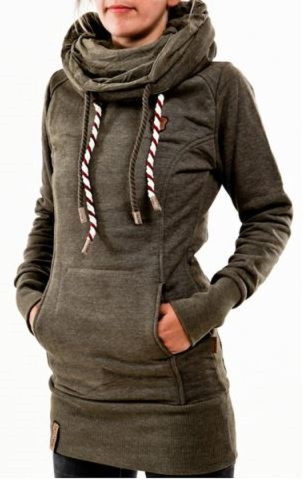 Love this Color! Olive Green Chic Hooded Long Sleeve Star Hoodie For Women #Cozy #Olive #Green #Fall #Hoodie