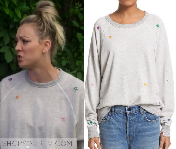 """The Big Bang Theory: Season 10 Episode 23 Penny's Grey Flower Embroidered Sweater 