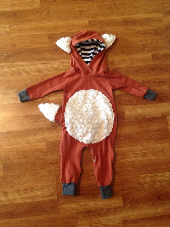 Fox Hooded Romper Fox Outfit Halloween outfit baby by Nooches