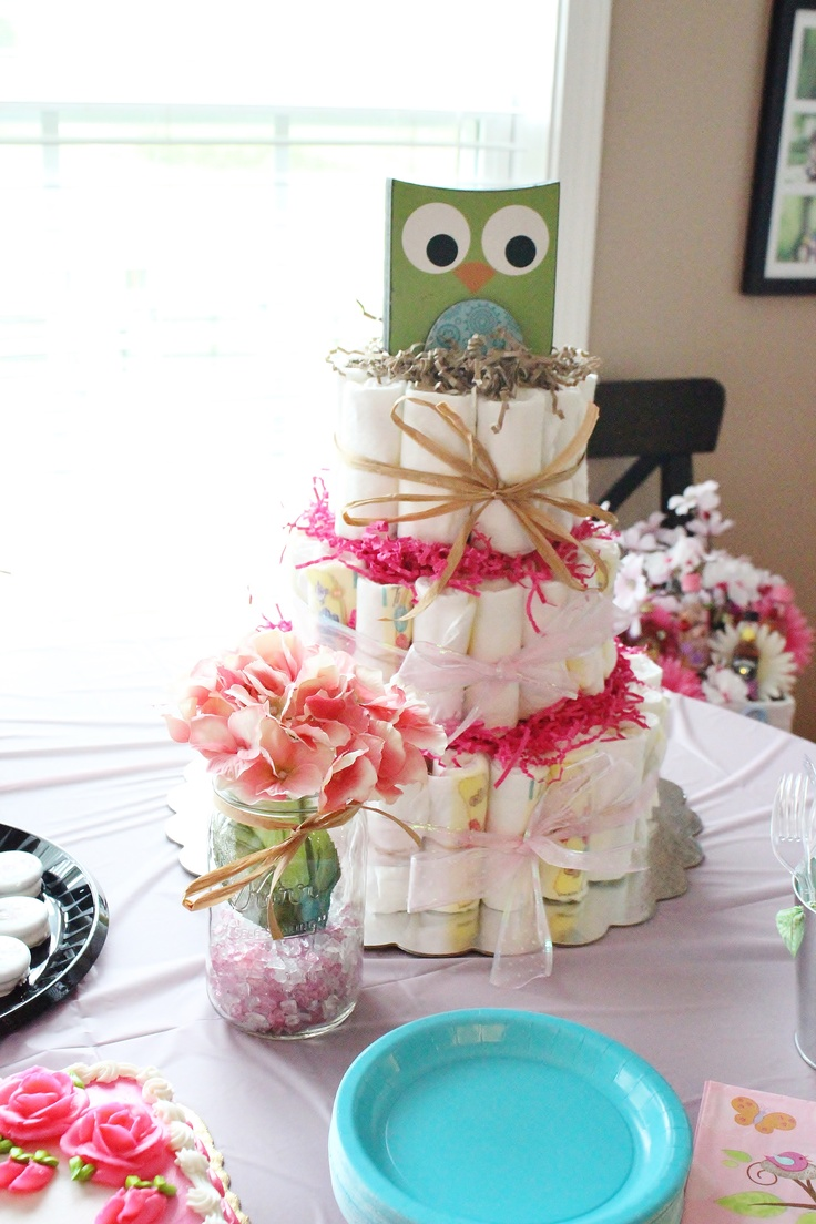 owl baby shower diaper cake this would be super cute and just serve