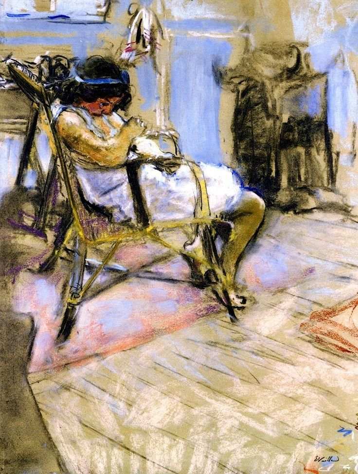 Édouard Vuillard - A Young Girl Seated in a Chair in the Studio, 1909