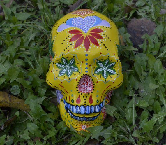 Sugar Skull Day of the Dead HandMade Ceramic Mexican Skull Candy Legend Home Decoration Unique