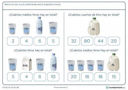 Ficha de capacidad en litros pesa para primaria