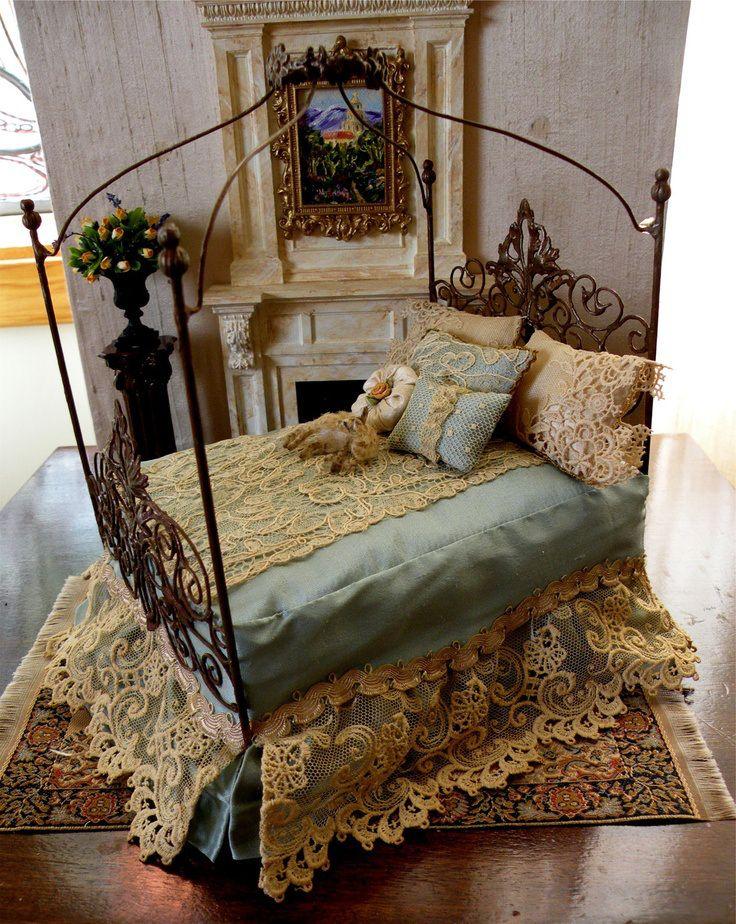 Dollhouse Miniature 1:12 Scale Artisan Dressed Wrought Iron Bed.  $ 100.00, via Etsy.