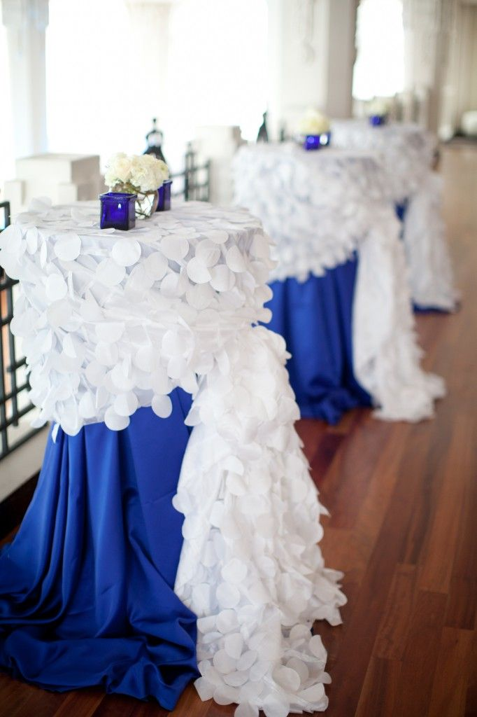 royal blue and silver wedding centerpieces%0A blue and white cocktail tables  But maybe with cobalt blue and hot pink and  white  Royal Blue Wedding DecorationsBlue