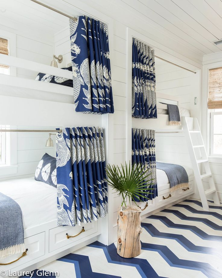 blue and white bunk room by homes editor ellen mcgauley as clever design ideas go patterned flooring in beach houses ranks right up there with bunk beds