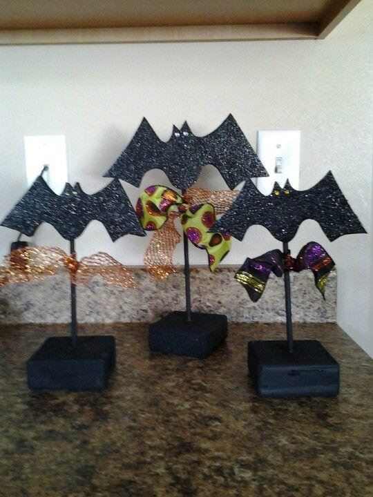 halloween wood craft bats