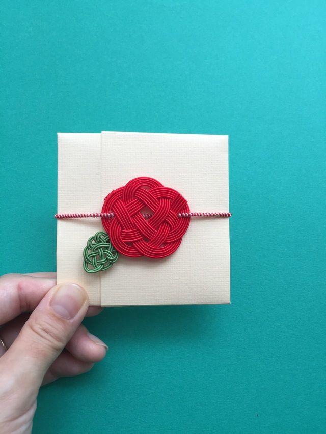 水引赤いお花の正方形ぽち袋