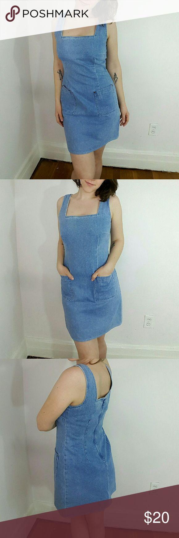 "Vintage Denim Dress Vintage Denim Dress. By Moda International. 100% cotton, made in USA. Marked a size 6- 17"" armpit to armpit, 33.5"" long from top of sleeve to hem. Excellent condition. #denimdress #vintagedenim #90sdenim Vintage Dresses"