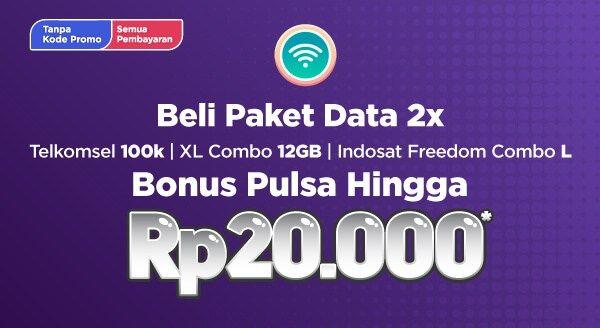 Beli Paket Data 2x 📱 Bonus Pulsa Hingga Rp 20.000, di Tokopedia.com 👍  Langsung Transaksi tanpa Kode Promo 👍 👉 https://goo.gl/P2ZBNw