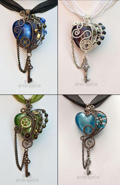 Steampunk heart pendants.