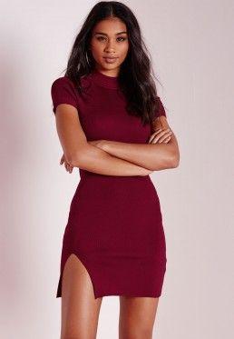 Crisp Mini Split Dress Burgundy