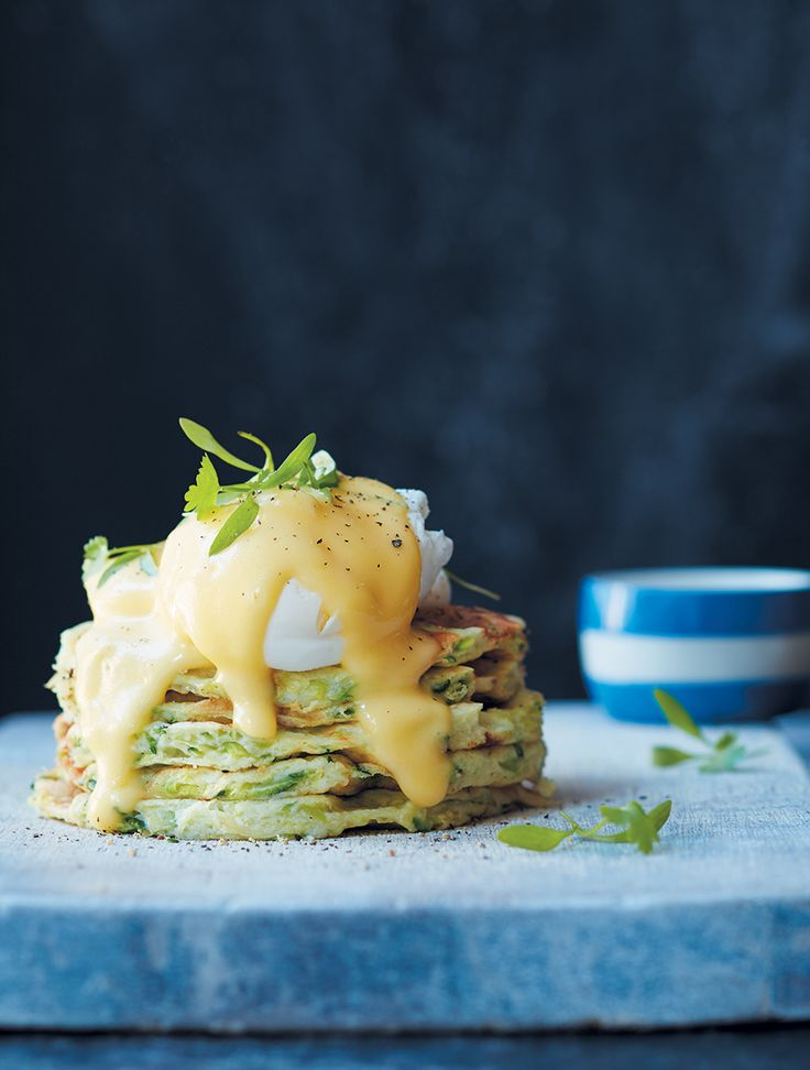 Banting waffle stack with poached egg and hollandaise