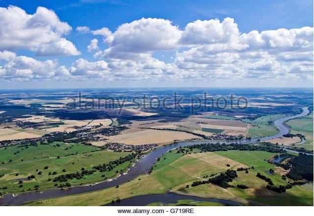 River Elbe, eastern Wittenberg, Saxony-Anhalt, Germany - Stock Image