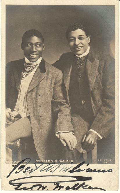 """In 1893, Bert Williams and George Walker began performing together in minstrel shows. They found that by donning blackface and calling themselves """"The Two Real Coons,"""" they could get booked into better vaudeville venues in Los Angeles, New York, London, and other major cities. Their skill at joking was renowned."""