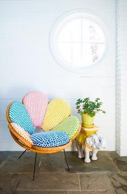 "Fun round vintage style chair with different fabric on each ""petal"""