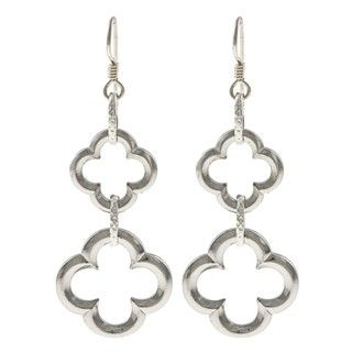 @Overstock - Double your luck with these fashionable clover earrings from MS DJ Casanova. These stunning earrings are crafted with tierracast pewter and dangle from hooks of sterling silver.  http://www.overstock.com/Main-Street-Revolution/MS-DJ-Casanova-Tierracast-Pewter-Silver-Double-Lucky-Clover-Earrings/6047565/product.html?CID=214117 $24.99