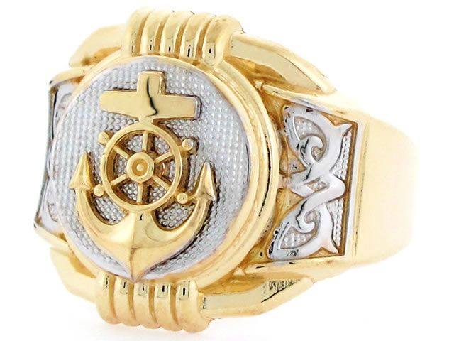 Nautical Jewelry: 10k Two Tone Gold Anchor Navy Round Fancy Mens Ring