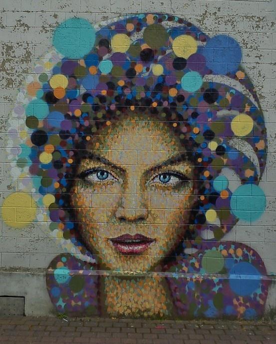 Street art mural, city of Hasselt, Belgium