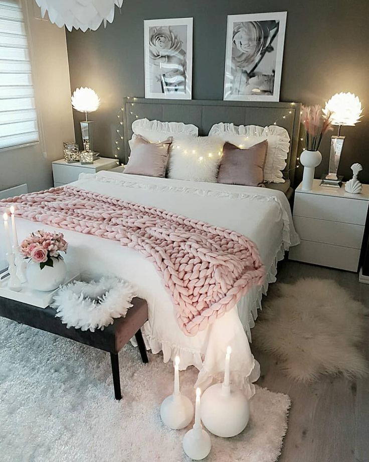 Neutral Feminine Girl S Or Teens Room With Gray Walls And White Bedding Statementchandelier Texture B Cozy Home Decorating Bedroom Decor Cute Bedroom Ideas