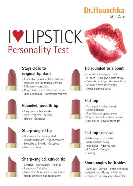 Lipstick Personality Test.....I'm sharp-angled, curved tip...sometimes just sharp angled