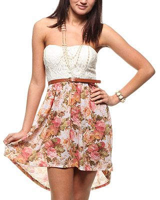 Floral Bottom Bustier High Low #rue 21 21.99 I normally don't like high lows, but this is cute