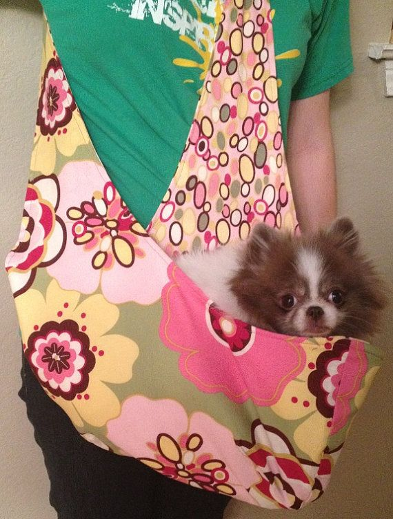 Pink and Green Floral Pet Sling Carrier
