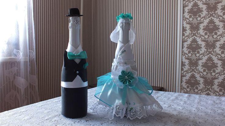 Украшение шампанского на свадьбу ЖЕНИХ оформление свадебных бутылок декор своими руками мастер класс свадебное платье на Алиэкспресс http://ali.pub/xq89d Все...