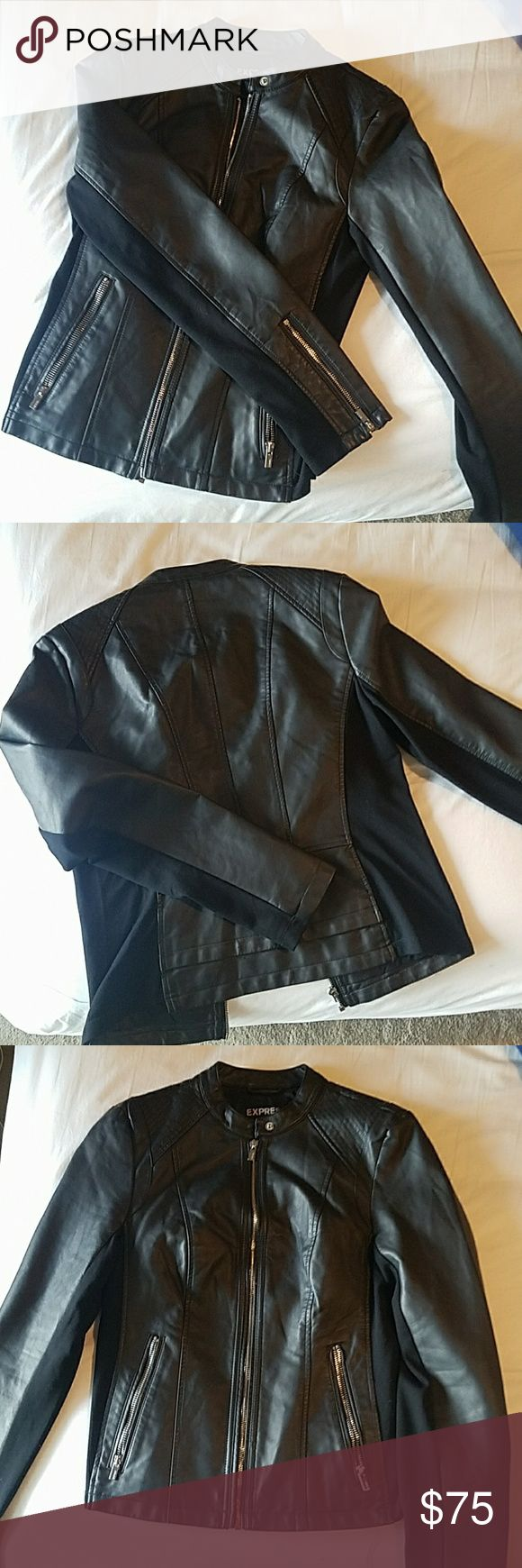 Vegan leather jacket Brand new jacket worn one time. Super cute and very good condition. Has a different material under the arms and side 2 zipper pockets Will accept best offer Express Jackets & Coats Blazers