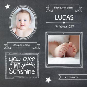 Krijtbord geboortekaartje met fotos