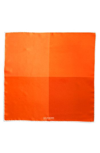$39, Silk Pocket Square Orange One Size by J.Z. Richards. Sold by Nordstrom. Click for more info: http://lookastic.com/men/shop_items/59116/redirect