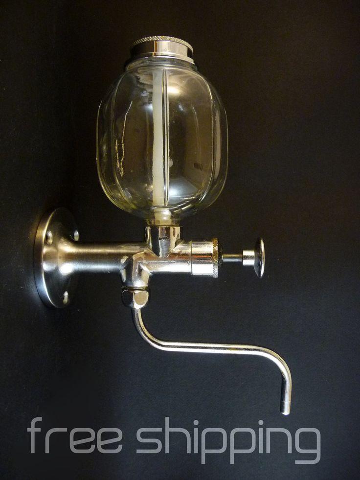 1950 Distributeur de Savon liquide mural Métal chromé et vase en verre Made in France Ets Garnier Décor vintage Salle de Bains Cuisine de la boutique sofrenchvintage sur Etsy