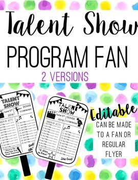 Talent Shows are a great opportunity for the students to show their talents off to friends, parents and the school community, but often times involve crowded Multi-Purpose Rooms or HOT outdoor bleachers. This editable Talent Show Fan is a great way to share the Talent Show Information and cool down a hot crowd.This Talent Program Fan can be made into a paper fan using cardstock (thick paper) and popsicle sticks to help cool parents in Non-AC crowded classrooms.