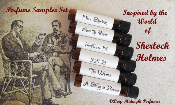 SHERLOCK HOLMES inspired PERFUME Sample Set by DeepMidnightPerfumes, $18.00