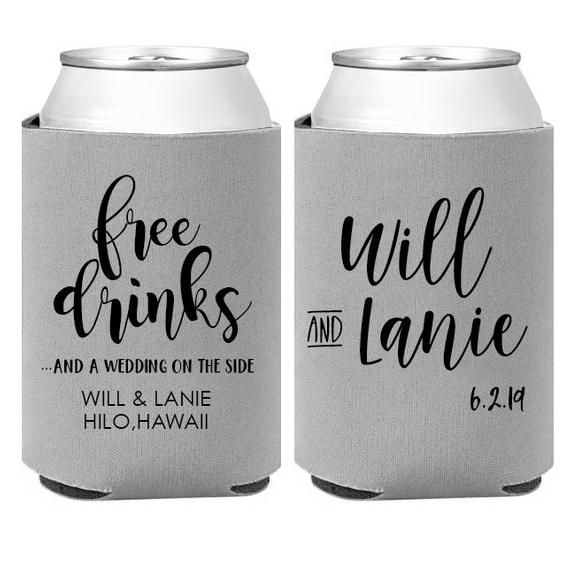 Personalized Wedding Can Coolers Unique Wedding Favors Custom Beverage Insulator E Personalized Wedding Koozies Wedding Koozies Funny Custom Wedding Favours