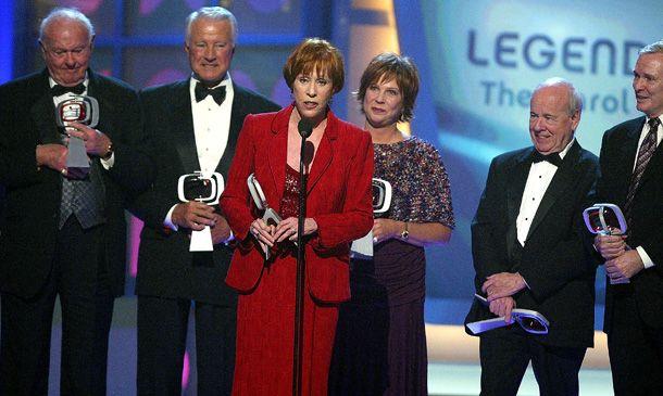 Actors Harvey Korman, Lyle Waggoner, Tim Conway, Vicki Lawrence, Carol Burnett, and Designer Bob Mackie accept the Legend Award for The Carol Burnett Show at the 2005 TV Land Awards.