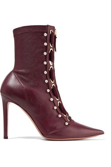 Altuzarra - Elliot Embellished Leather Ankle Boots - Burgundy