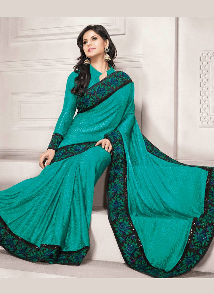 Blue Discount Designer Clothes Teal Blue Embroidered Saree