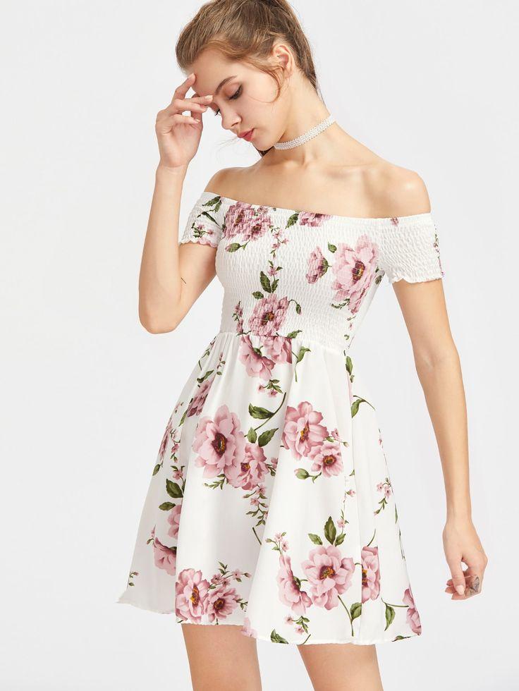 Niedliche A Line Floral Fit und Flare ausgestellt aus der Schulter Kurzarm Multicolor Short Length Blumendruck aus Schulter Kleid gerafft