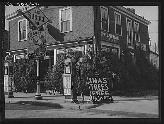 Vintage Christmas Photograph ~ Christmas Trees for Sale * Woonsocket, RI * ©December, 1940
