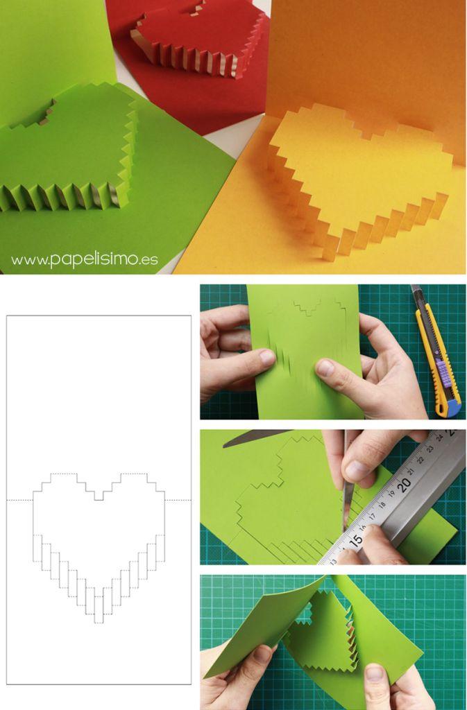 Tarjeta de corazón 3D para San Valentin (pop-up) | http://papelisimo.es/tarjeta-de-corazon-3d-para-san-valentin/