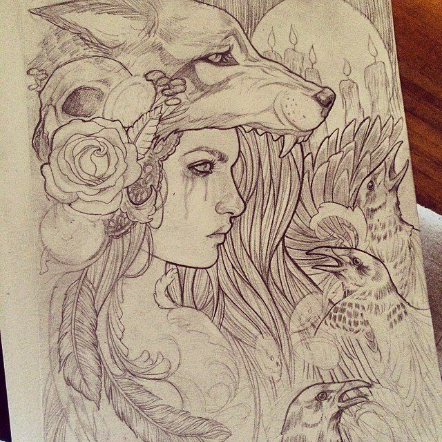 so like a bird on her head instead of a wolf? flowers and feathers are so prettty too...