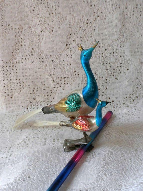 vintage mercury glass double bird clip ornament peacocks