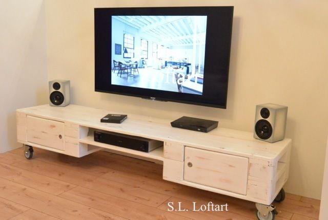 Vintage Kommoden - Palettenmöbel Longlowboard / TV-Bank 200 cm - ein Designerstück von SL-Loftart bei DaWanda