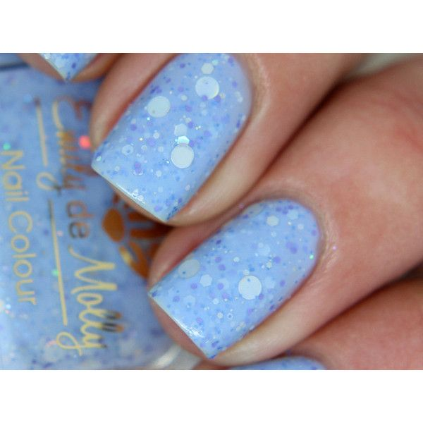 """Nail polish - """"Hole in the sky"""" silver dot and periwinkle glitter in a light blue base ($10) found on Polyvore featuring beauty products, nail care, nail polish, nails, light blue nail polish, glitter nail polish, silver nail polish, silver glitter nail polish and polka dot nail polish"""