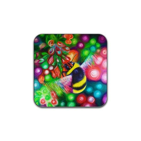 Bumble Bee and Flowers Coaster by simon-knott-fine-artist at zippi.co.uk