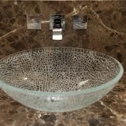 Fantastic glass vessel sink works great with our quartz countertop! Countertop by Patra Stone Works Ltd. #bathroom #vanity #design