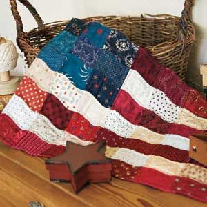 Charm Flag: Folksy Hand Pieced American Flag Quilt Pattern